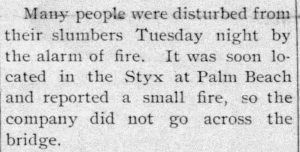 Notice about a fire in the Styx in 1904, and the fire department choosing not to put it out.