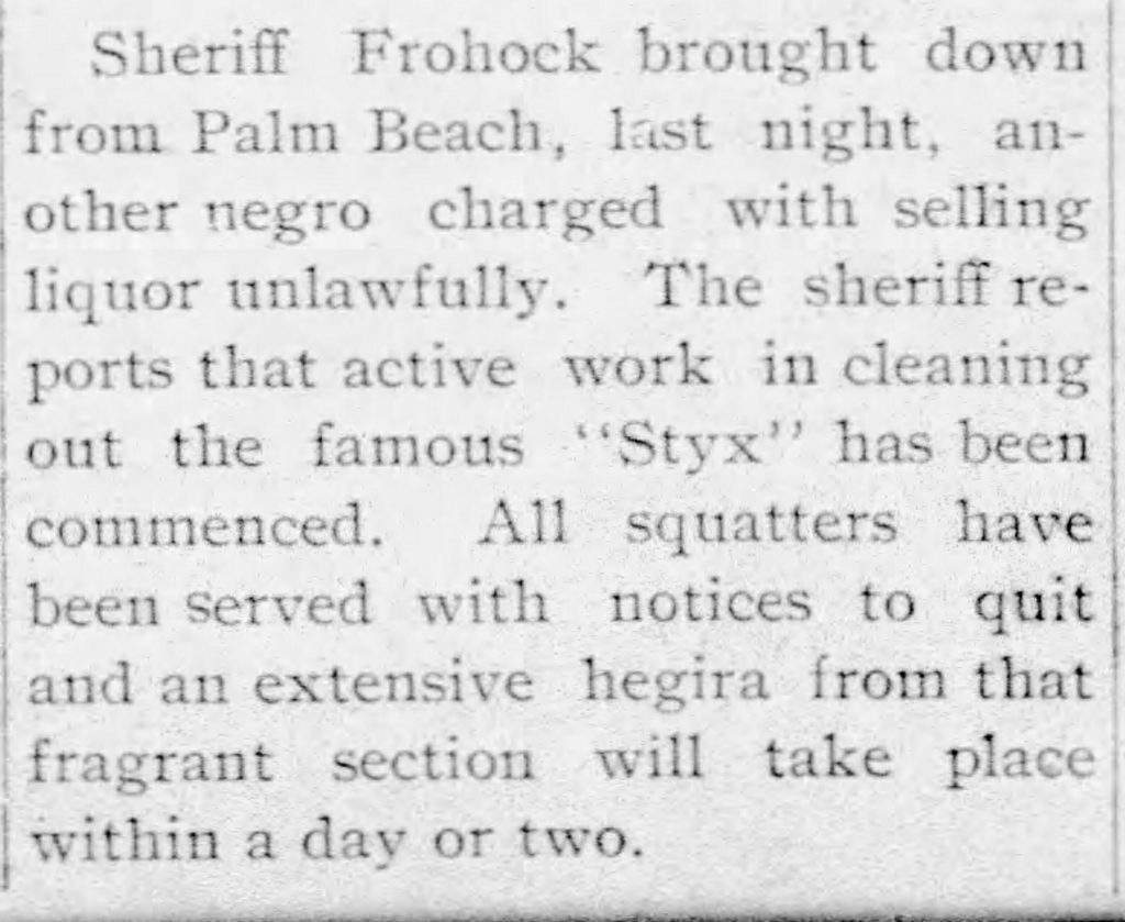 clipping from The Miami Evening Record, describing a sheriff's
