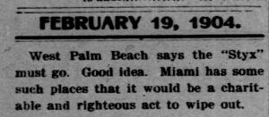 Clipping from The Miami News, 1904, saying that