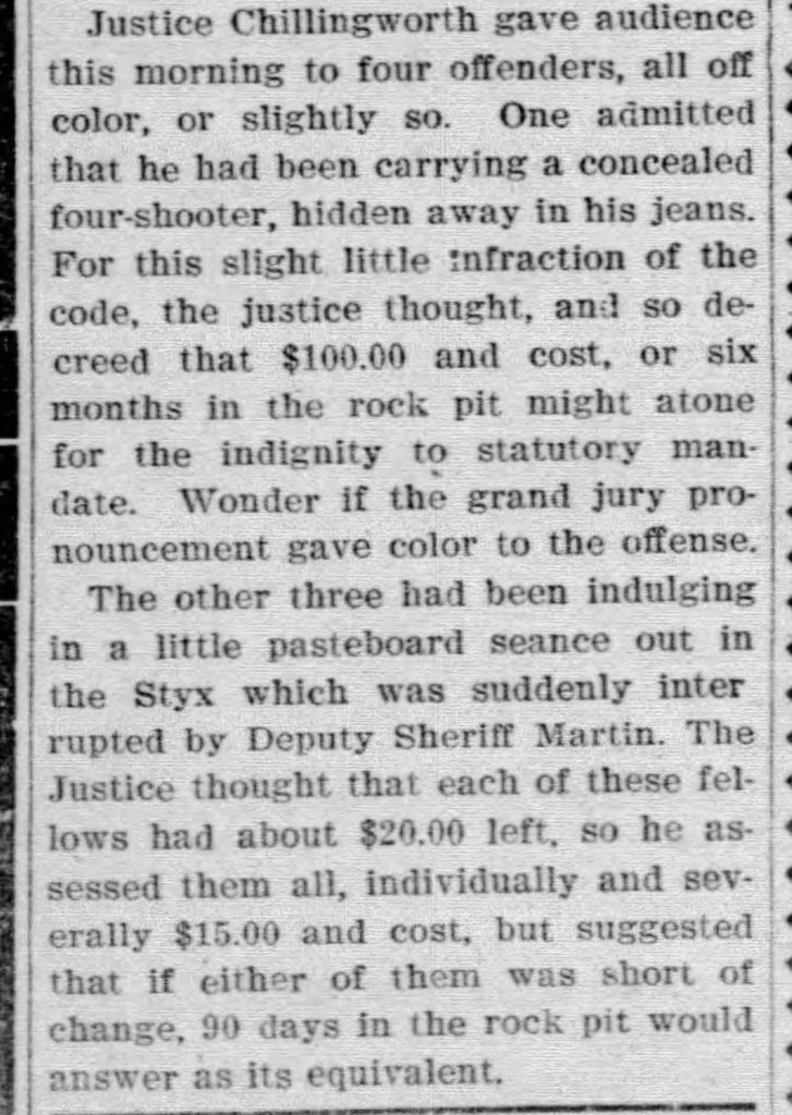 newspaper clipping describing fines against black laborers for petty crimes.